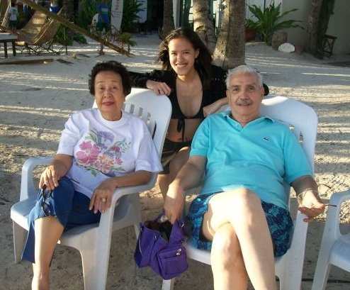 With Lola Paquita and Lolo Peping in Boracay