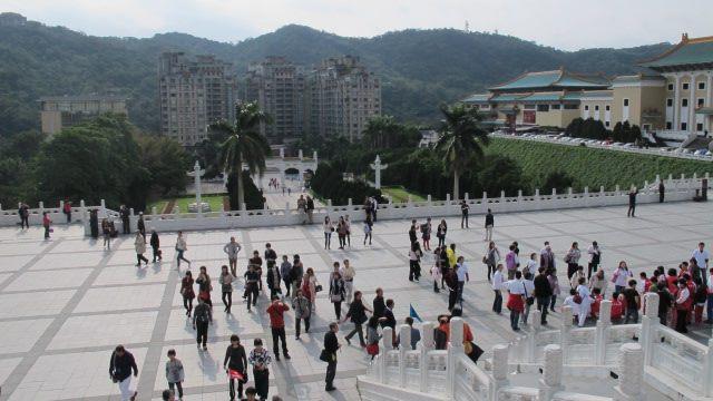 Tourists outside the National Palace Museum - Taipei, Taiwan