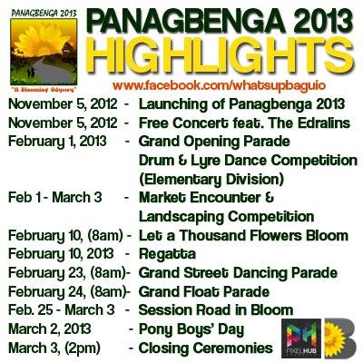 Panagbenga Festival 2013 Schedule of Activities in Baguio City