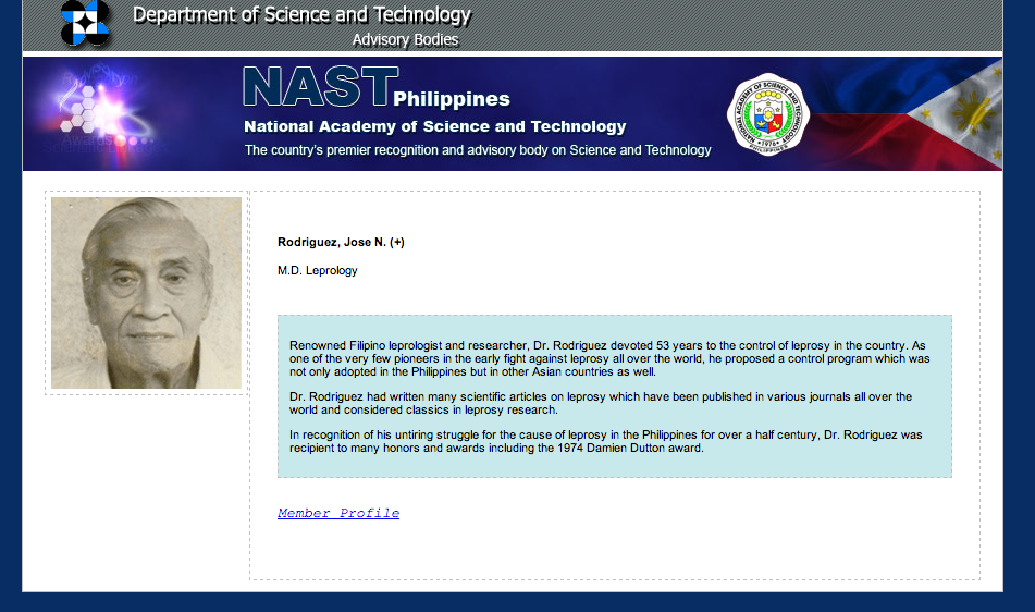 Dr. Jose N. Rodriguez profile. Screencap from the NAST website