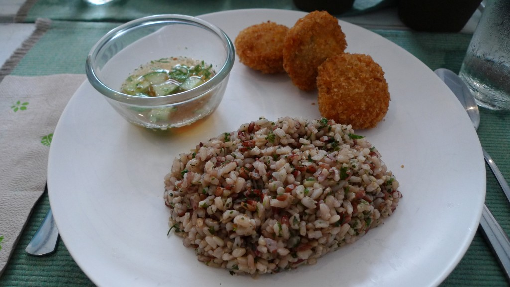 Thai Fish Cake with Cilantro Rice from Sea Green Cafe
