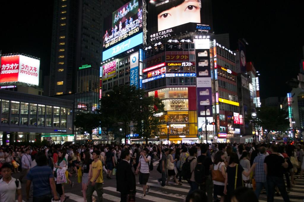 At the popular Shibuya Crossing