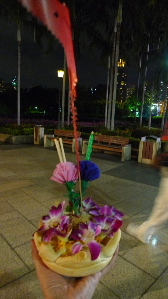 Our very own Loy Krathong celebration. This is my Krathong boat!