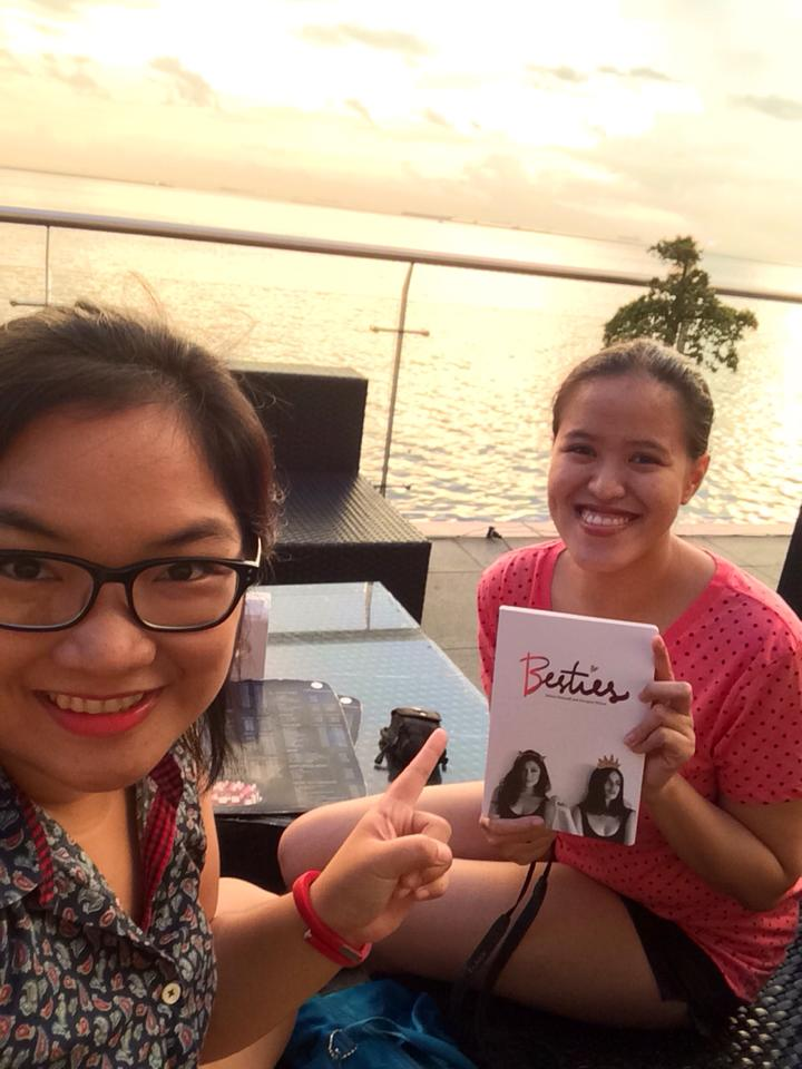 My dear friend Maire and I in one of our staycations in Manila! We were happy exchanging comments about Georgina and Solenn's Besties book :)