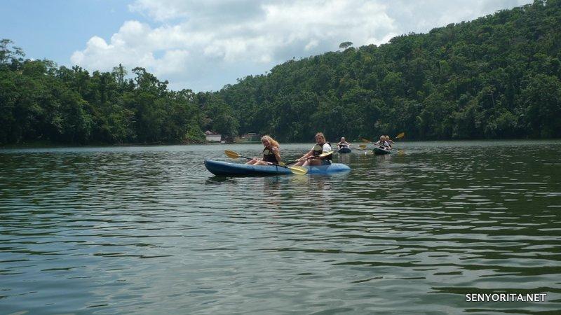 Students from Germany enjoying a kayaking activity in Bulusan Lake