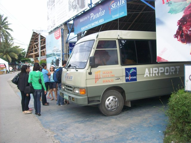 SEAIR Shuttle Bus located outside the airport
