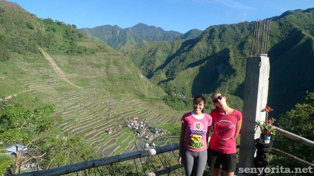 Wearing the 'No Boyfriend, No Problem' Pink shirt in Batad Village