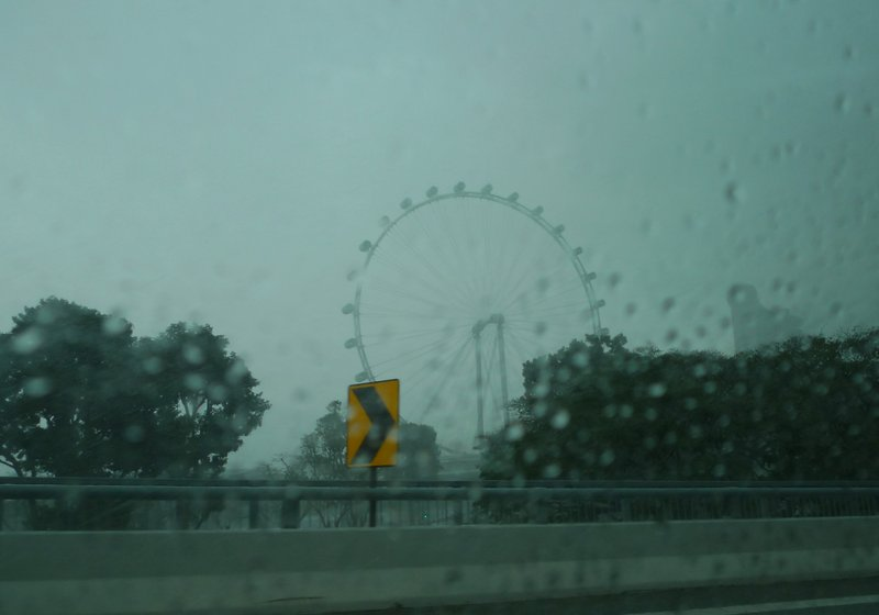 Singapore Flyer on a rainy day