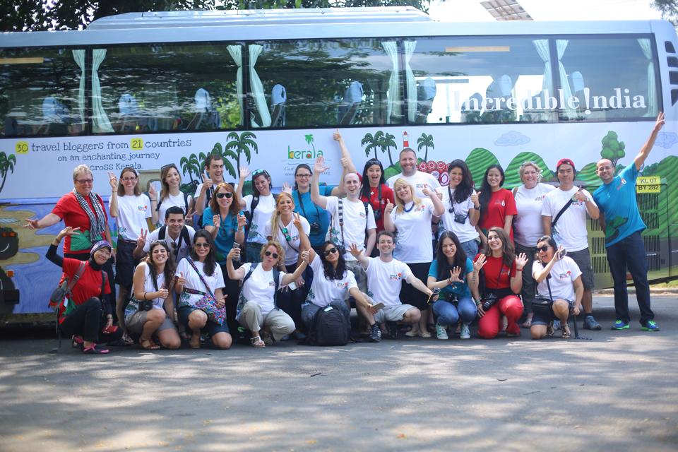One of our first group photos with the eye-catching bus! | Photo Credit: Adventure Flair