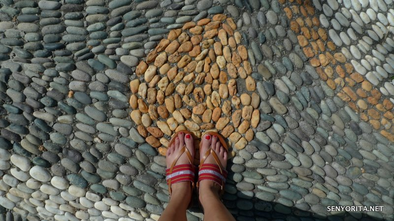 Walking leisurely at Las Casas Filipins de Acuzar with my Lakhambini flat sandals!