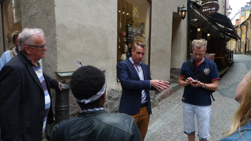 Our tour guide Marco sharing interesting facts about notable LGBT figures of Sweden